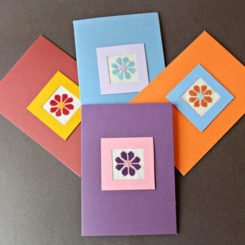Flower Note Card Set, Cross Stitch Cards Stationery, Thank You Cards, Blank Note Cards, Completed Cross Stitch