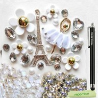 Frog-tech High quality DIY 3D Silver Eiffel Tower Bling Cell Phone Cases Case Resin Flat back Kawaii Cabochons Deco Kit / Set