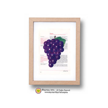 Kitchen Wall Art -Grape fruit print-Limited edition Prints on vintage Italian cookbook-grape on book page- by NATURA PICTA N09