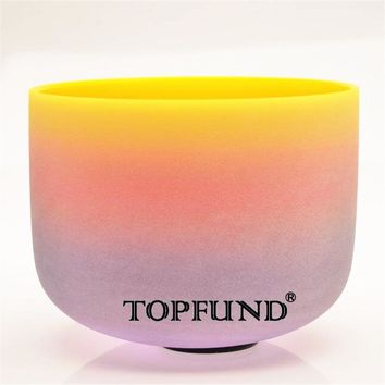 "TOPFUND Rainbow  Frosted Chakra Quartz Crystal Singing Bowl 10"" ABCDEFG Note bowls available With Free Mallet and O-Ring"