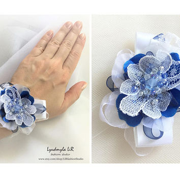 Bridal Bracelet with Blue White Flower & Swarovski Crystals. Luxury Chic Jewelry for Wedding Prom Party Bridal Bridesmaid wrist corsage cuff