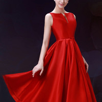 Red Plunge Neck Bowknot Waist Lacing Back Midi Prom Dress