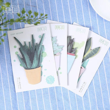 Pot Cultured Succulent Plants Memo Notepad Notebook Memo Pad Self-Adhesive Sticky Notes Bookmark Promotional Gift Stationery