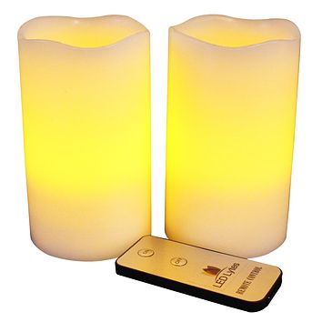 Pillar Candles, Set of 2 Flameless Wax with Amber Yellow Flame and Remote