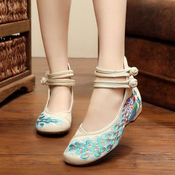 Bright Peacock Embroidery Women Shoes size 75859