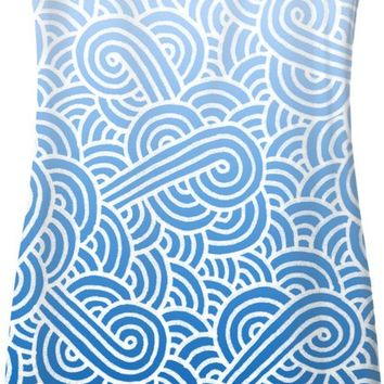 Ombre blue and white swirls doodles Simple Dress