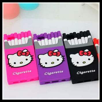 Fashion 3D Phone Case For iPhone 6 6s Plus Silicon Smoking Hello Kitty Cigarette Box Cell Phone Cover Cases For iPhone SE 5 5s