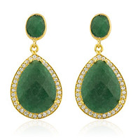 925 Sterling Silver Goldtone Simulated Emerald Stone with Surrounding Cubic Zirconia Stones Earrings
