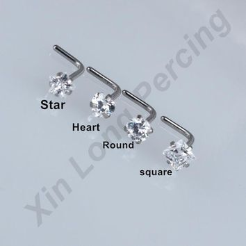 40pcs/lot 3mm CZ Gem L Shape Nose Studs Ring Surgical Steel 20G Nose Bone Piercing Body Jewelry Free Shipping
