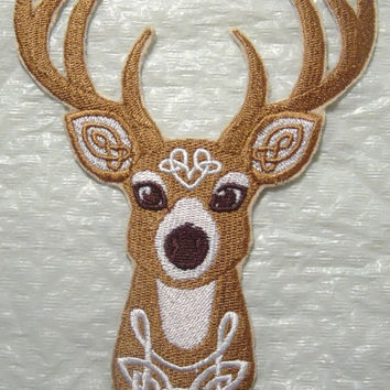 Beautiful Celtic Deer with Knotwork Machine Embroidered Iron on Applique - Choose your size