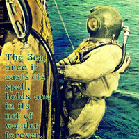 Scuba photograph 11x14 Jacques Cousteau NET of WONDER life quote art nature dive photo 1930s vintage coastal decor beach lover gift Art Deco