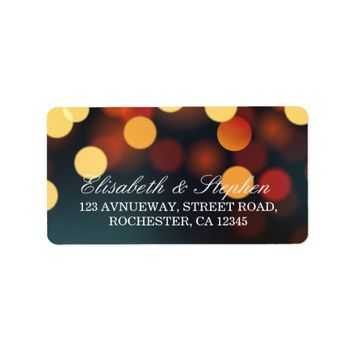 Chic Teal Gold Bokeh Glitter String Lights Wedding Label
