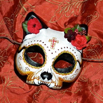 Cat Mask Day of the Dead Mask Dia de Los Muertos Kitty