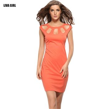 Ladies Sexy Hollow Out Sleeveless O-neck Pencil Dress