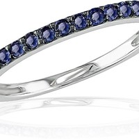 Sapphire Stackable Ring in 10K White Gold