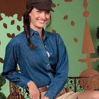 UltraClub Women's Soft Cypress Denim Double-Needle Woven Shirt