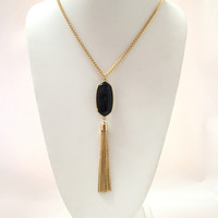 Trina Fringe & Tassel Necklace Set In Black