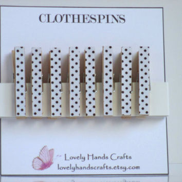 White/Black Polka Dots - Decorative mini wooden clothespins - Set of 8