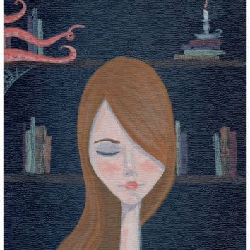 Art Painting Print Portrait - Amelia and the Sea - Library Book Art Painting Print Whimsical Art portrait Print
