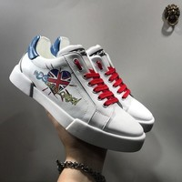 Dolce & Gabbana D & G Portofino Sneakers In Nappa Calfskin With Patches Cs15875268i721 - Sale