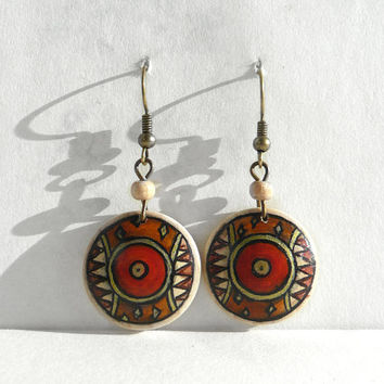 Hand Painted Wooden Earrings, Dangle Earring, African Art Earrings, Ethnic Painting on Wood, Crafts, Tiny Art by Artdora