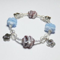 Blue and Purple Striped Flower Glass and Pewter Charm Beaded Stretch Bracelet