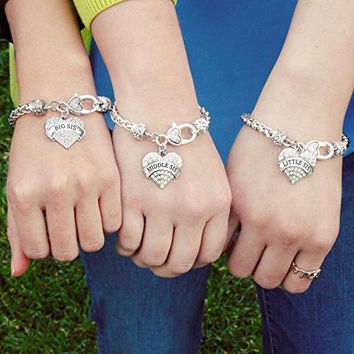 Sister Crystal Paved Heart Charm Braided Bracelet