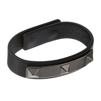 Studded Black Leather Bracelet by Valentino