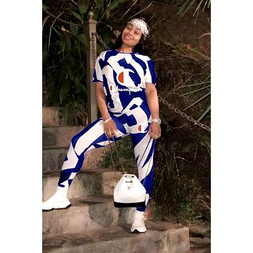 Champion 2019 new letter printing round neck women's two-piece suit White/Blue