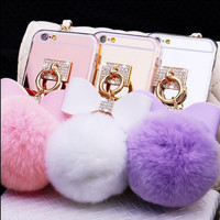 Fashion butterfly rabbit hair ball mirror phone case for iphone 5 5s SE 6 6s 6 plus 6s plus + Nice gift box 080901