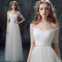 C.V Half Sleeve Simple Design Tulle Beach Wedding Dress Floor Length Plus Size Off Shoulder Vintage A line Wedding Dresses W0050