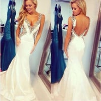 New sexy v-neck backless beaded taffeta mermaid wedding dress custom size