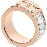 Michael Kors Ring, Rose Gold-Tone Plaque and Crystal Baguette Ring