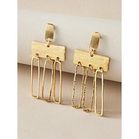 1pair Metallic Geometric Drop Earrings