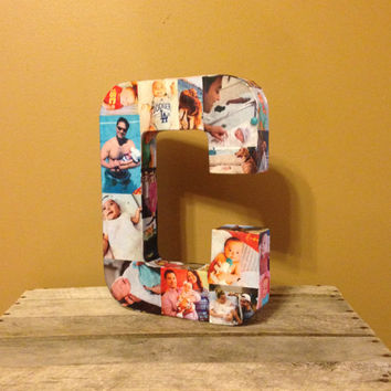 Wedding Bridal Graduation Personalized Custom Photo Picture Paper Mache Letter Collage 3D all sides any letter of the Alphabet Sports Memory