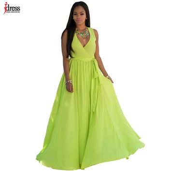 IDress Fashion Long Dress Women Sexy Party Dresses Summer Vestitios Green White Dress Deep V Neck Big Swing Chiffon Beach Dress