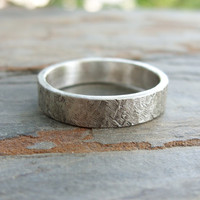 Rugged Stone Texture Wedding Band for Men or Women - Super Distressed Silver Stone Ring -  5mm Flat Band in Matte Sterling Silver