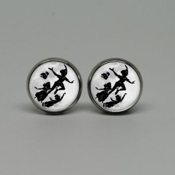 Silver Stud Post Earrings with Peter Pan