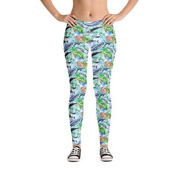 Women's Sea Life Ocean Animals Pattern Leggings with Sharks, Whales, Dolphins, Sea Turtles and Octopus
