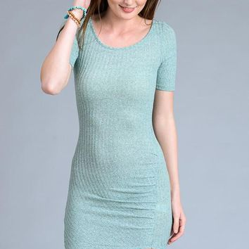 Bodycon Short Sleeve High Low Dress