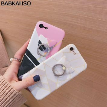 BABKAHSO New Cute Hipster Stylish Geometric Case For iPhone 6 6S Plus with Cat Ring Holder Phone Cases for iPhone 8 7 7plus TPU