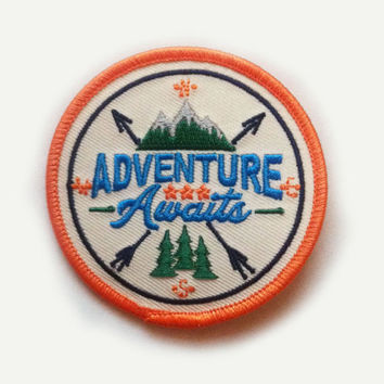 "Adventure Awaits Iron On Patch - 2.78"" Round - Iron On or Sew On Patch Appliqué"