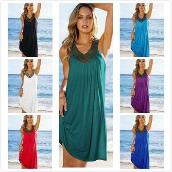 Beach Overskirt Sexy Robe Plage Beach Long Dress Pareos Women Beach Tunic Sarong Hot drilling Bathing Suit Bikini Cover Up