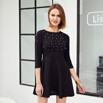 cdc22f083e Pearl Embellished Party Dress Zip Fit Flare Women Black 3/4 Sleeve Skater Dresses  Elegant