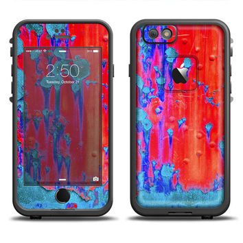 The Bright Red v2 Metal with Turquoise Rust LifeProof Case Skin (Other LifeProof Models Available!)