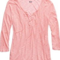 Aerie Women's Comfy Striped Lace-up T-shirt