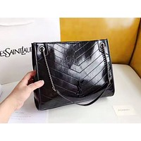 YSL fashion selling casual women's plain shopping bag shoulder bag Black