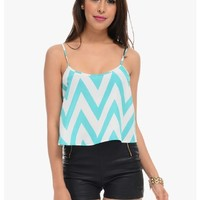Teal Lined Up Chevron Stripe Crop Top | $10 | Cheap Trendy Blouses Chic Discount Fashion for Women