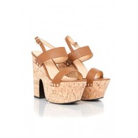 Missguided - Cemira Faux Leather & Cork Wedge Sandals In Tan