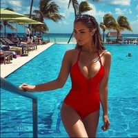 One Piece Swimsuit Strappy Mesh lace Crochet Bathing Suit